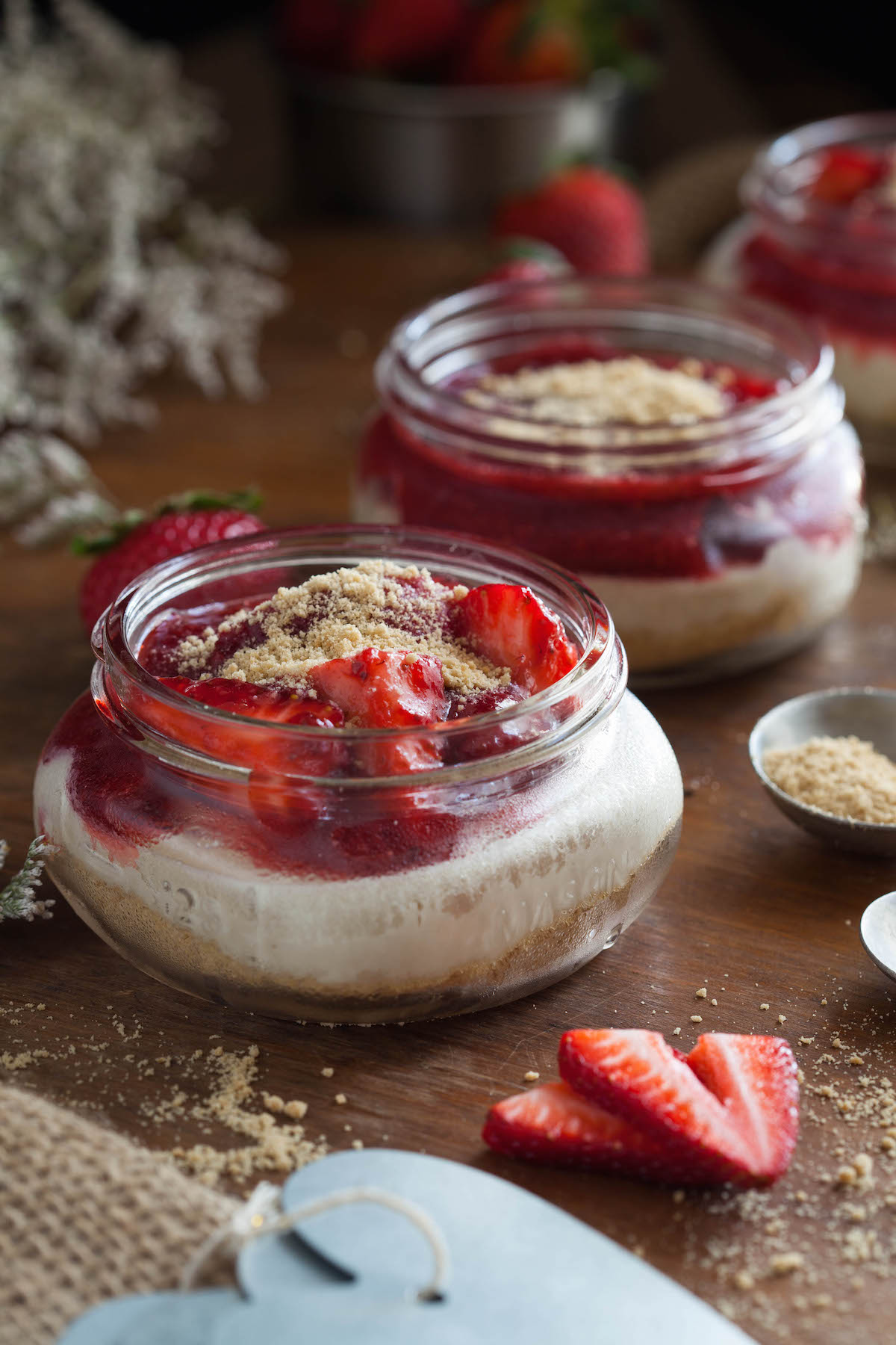 No Bake Strawberry Cheesecake Jars Clean Eating With A